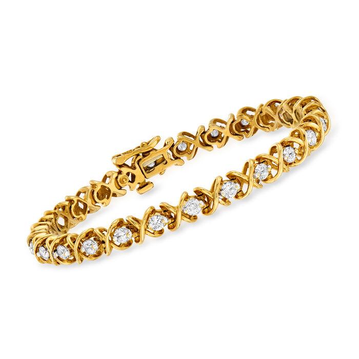 "C. 1980 Vintage 3.00 ct. t.w. Diamond X Bracelet in 14kt Yellow Gold. 7"""
