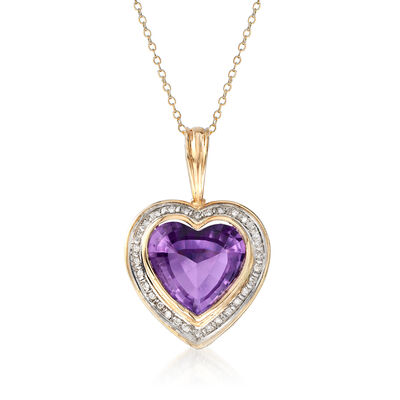 C. 1980 Vintage 13.30 Carat Amethyst and .30 ct. t.w. Diamond Heart Pendant Necklace in 14kt Yellow Gold, , default