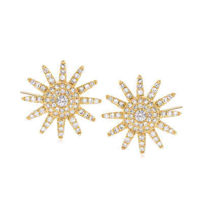 .45 ct. t.w. Diamond Sunburst Earrings in 18kt Yellow Gold, , default