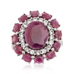 6.10 ct. t.w. Ruby and .60 ct. t.w. White Topaz Ring in Sterling Silver, , default