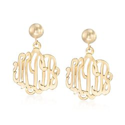 14kt Yellow Gold Script Monogram Dangle Earrings, , default