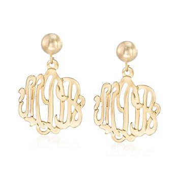 14kt Yellow Gold Script Monogram Dangle Earrings, , default