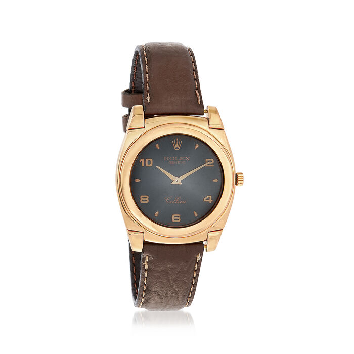 C. 1980 Vintage Rolex Cellini Men's 35mm Manual Watch with Brown Leather in 18kt Yellow Gold. Size 8, , default