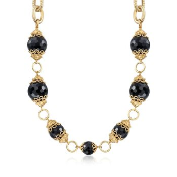 "Italian Black Onyx Bead Link Necklace in 18kt Yellow Gold Over Sterling Silver. 18"", , default"