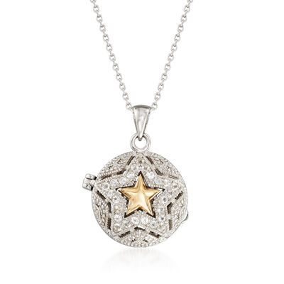 .60 ct. t.w. White Zircon Star Locket Necklace in 14kt Yellow Gold and Sterling Silver, , default