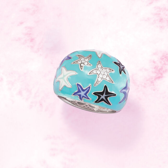 .10 ct. t.w. White Topaz and Multicolored Enamel Celestial Ring in Sterling Silver