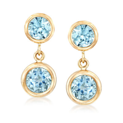 1.70 ct. t.w. Blue Topaz Drop Earrings in 14kt Yellow Gold, , default