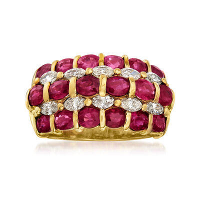 C. 1980 Vintage 1.32 ct. t.w. Ruby and .77 ct. t.w. Diamond Multi-Row Ring in 18kt Yellow Gold