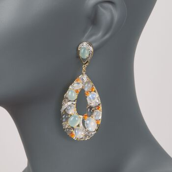 Multi-Stone and 3.30 ct. t.w. White Zircon Teardrop Earrings in 14kt Gold Over Sterling , , default