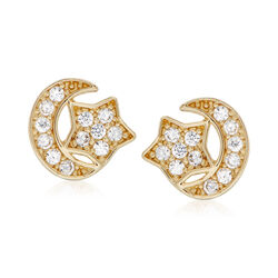 .10 ct. t.w. CZ Moon and Star Stud Earrings in 14kt Yellow Gold , , default