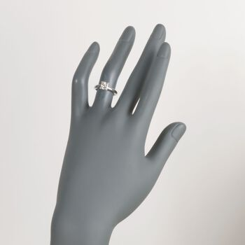 C. 2000 Vintage 1.00 Carat Princess-Cut Diamond Solitaire Engagement Ring in 14kt White Gold. Size 5, , default