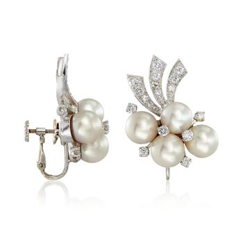 C. 1950 Vintage 8mm Cultured Pearl and 1.50 ct. t.w. Diamond Clip-On Earrings in 14kt White Gold , , default