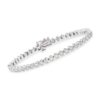 "3.00 ct. t.w. Bezel-Set Diamond Tennis Bracelet in 14kt White Gold. 7"", , default"