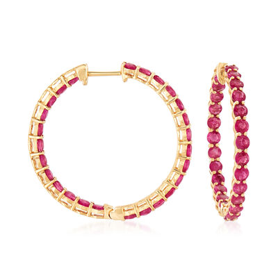 4.90 ct. t.w. Ruby Inside-Outside Hoop Earrings in 18kt Yellow Gold, , default