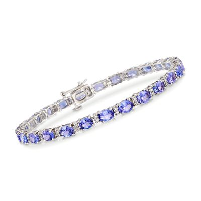 8.50 ct. t.w. Tanzanite and .27 ct. t.w. Diamond Bracelet in 14kt White Gold, , default