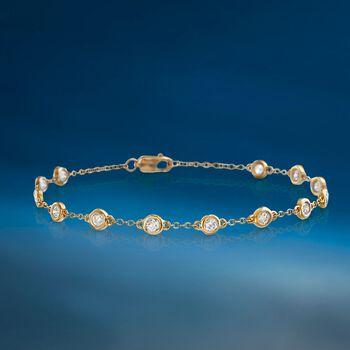 "1.00 ct. t.w. Bezel-Set Diamond Station Bracelet in 14kt Yellow Gold. 7"", , default"