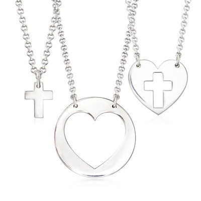 Sterling Silver Jewelry Set: Three Generations Heart and Cross Necklaces, , default