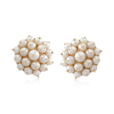 C. 1980 Vintage Pearl Cluster Non-Pierced Screw Earrings in 14kt Yellow Gold, , default