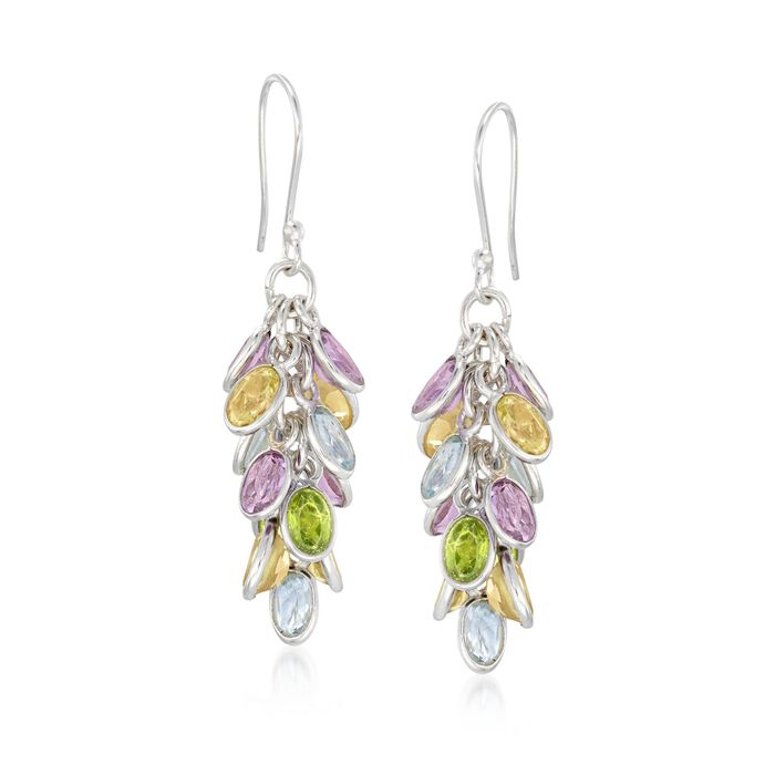 28.00 ct. t.w. Multi-Stone Cluster Drop Earrings in Sterling Silver, , default