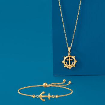 14kt Yellow Gold Boat Helm Pendant Necklace, , default