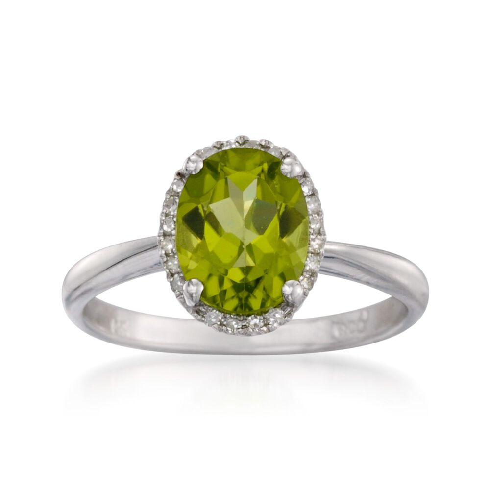 5968f25b51346 1.80 Carat Peridot Ring with Diamonds in 14kt White Gold