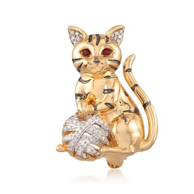 .16 ct. t.w. Diamond Cat Pin Pendant with Garnet Accents in 18kt Gold Over Sterling, , default