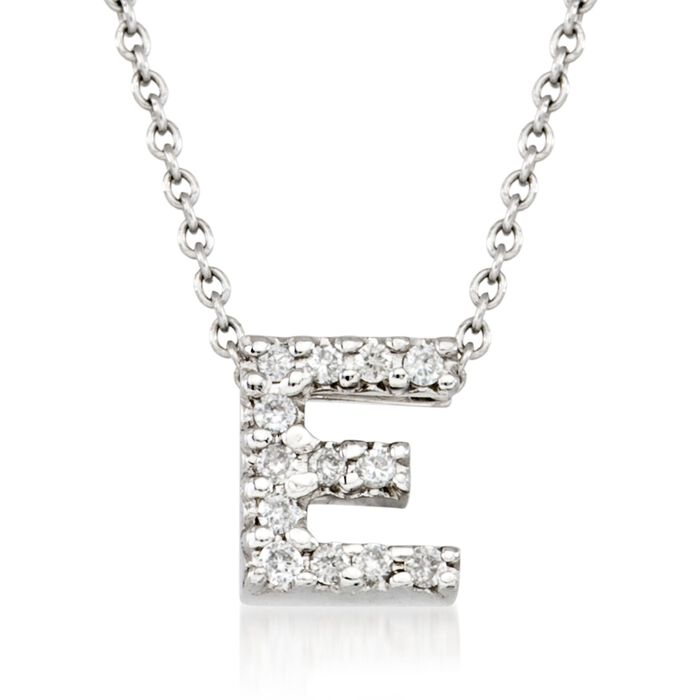 "Roberto Coin ""Tiny Treasures"" Diamond Accent Initial ""E"" Necklace in 18kt White Gold. 16"", , default"