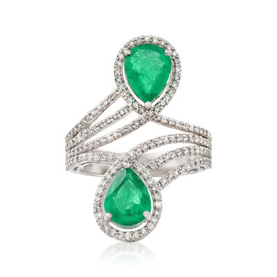 2.70 ct. t.w. Emerald and .96 ct. t.w. Diamond Ring in 18kt White Gold, , default