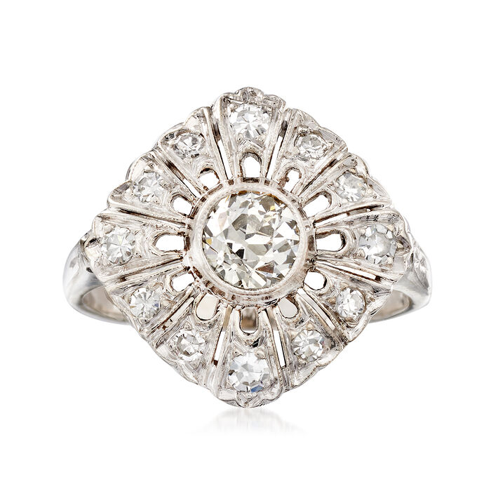 C. 1950 Vintage .65 ct. t.w. Diamond Cluster Ring in 14kt White Gold. Size 4.75, , default