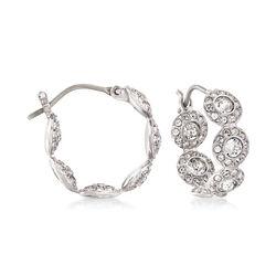 Swarovski Crystal Multi-Circle Silvertone Hoop Earrings, , default