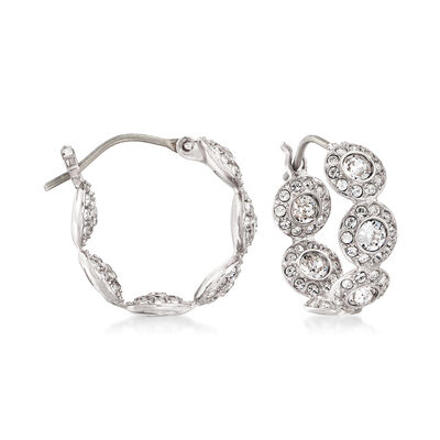 Swarovski Crystal Multi-Circle Silvertone Hoop Earrings, , default