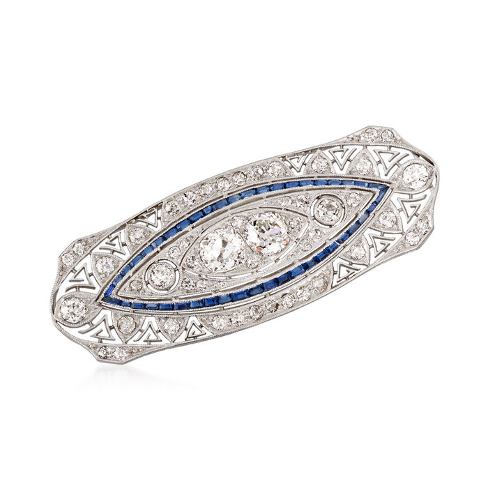 C. 1940 Vintage 2.90 ct. t.w. Diamond and .50 ct. t.w. Synthetic Sapphire Pin in Platinum, , default