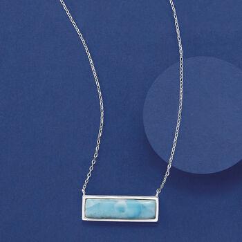"Larimar Bar Necklace in Sterling Silver. 16.5"""