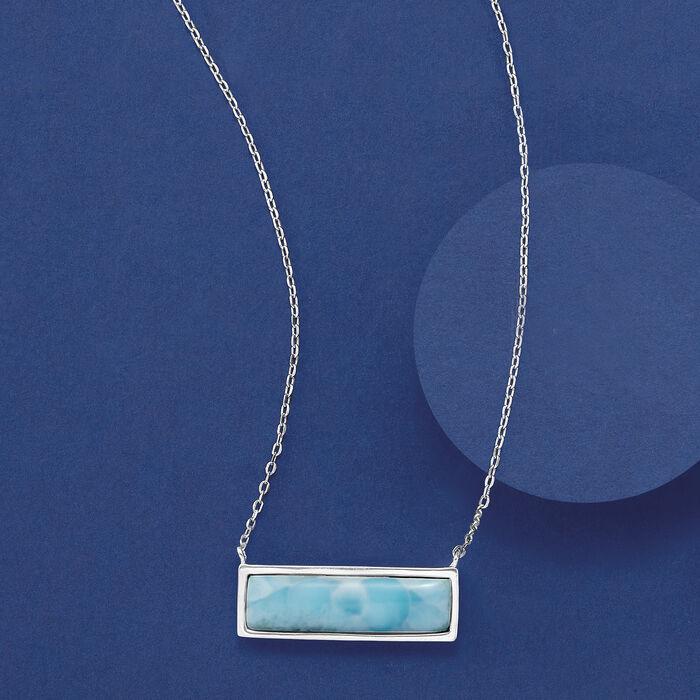 Larimar Bar Necklace in Sterling Silver
