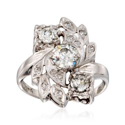 C. 1970 Vintage 1.50 ct. t.w. Diamond Floral Ring in 14kt White Gold. Size 8.5, , default