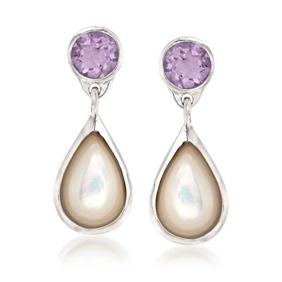 Mother-Of-Pearl and 4.00 ct. t.w. Amethyst Drop Earrings in Sterling Silver, , default