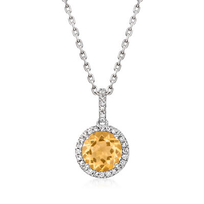 1.20 Carat Citrine Pendant Necklace with Diamond Accents in Sterling Silver