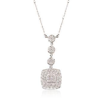 "ALOR .46 ct. t.w. Diamond Multi-Tier Square Pendant Necklace in 18kt White Gold. 17"", , default"