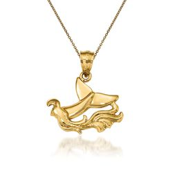 "14kt Yellow Gold Whale Tail Pendant Necklace. 18"", , default"