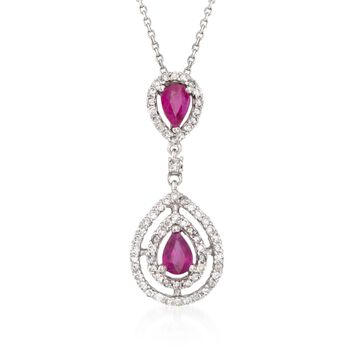 "1.00 ct. t.w. Ruby and .60 ct. t.w. Diamond Pendant Necklace in 14kt White Gold. 16"", , default"