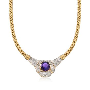 """C. 1980 Vintage 7.60 Carat Amethyst and 1.75 ct. t.w. Diamond Necklace in 18kt Yellow Gold. 16"""", , default"""