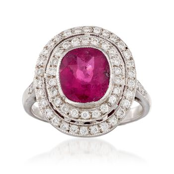 C. 1990 Vintage 2.10 Carat Pink Tourmaline and .50 ct. t.w. Diamond Halo Ring in 18kt White Gold. Size 6.5, , default