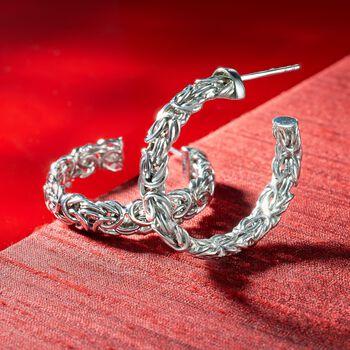 """Sterling Silver Byzantine C-Hoop Earrings. 1 1/8"""", , default"""