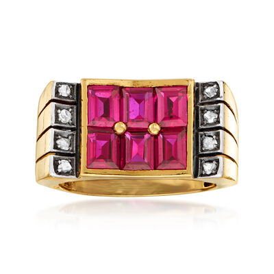 C. 1950 Vintage 2.70 ct. t.w. Synthetic Ruby and .12 ct. t.w. Diamond Ring in 18kt Yellow Gold