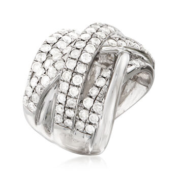 3.00 ct. t.w. Diamond Double-Row Highway Ring in Sterling Silver