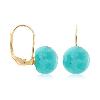 Button Turquoise Drop Earrings in 14kt Yellow Gold, , default