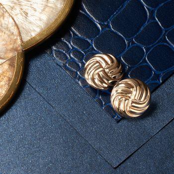 14kt Yellow Gold Swirl Button Stud Earrings, , default