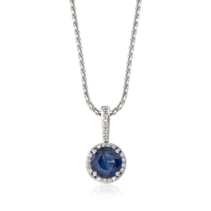 "1.25 Carat Sapphire and .20 ct. t.w. Diamond Halo Pendant Necklace in 14kt White Gold. 18"", , default"