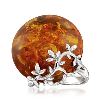 Amber Floral Ring in Sterling Silver