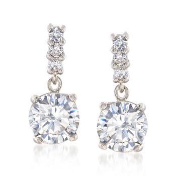 2.73 ct. t.w. CZ Drop Earrings in Sterling Silver. , , default